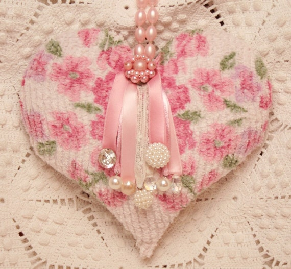 Pink Roses And Pearls Hanging Heart By Vintagelinendelights