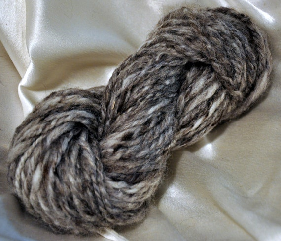 Handspun Yarn- Wool- 2ply Bulky Weight- Thick and Thin- Natural Color
