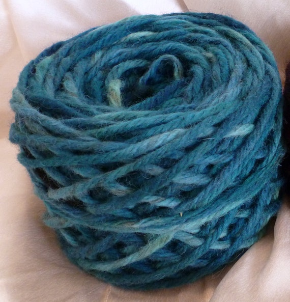 CLEARANCE- Hand Paint Bulky Wool 4ply Yarn- Chubby Bunny- in Waves of Tahiti