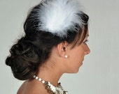 Feather Fascinator Pure White Hair Clip, made to order