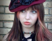 Fleet Street Annie, handblocked, velour fur felt, tilt topper/doll hat/cocktail hat