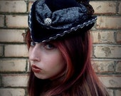 Chase the Dragon, velour fur felt, custom designed, handblocked, tilt topper/doll hat/perch hat/cocktail hat