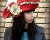 Louis de Bourbon ( in red) , Comte de Vermandois, L'Homme au Masque de Fer, custom designed, handblocked,  tricorn, pirate hat