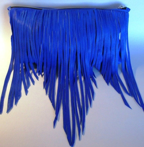 Boho fringe leather clutch- Electric blue  (Last one available in this leather)-Free Shipping