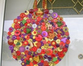 Festive Wreath with Fall/Autumn Buttons