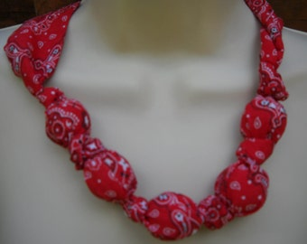 Fabric Knot Statement Necklace - Red Kerchief