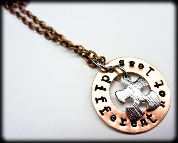 Autism Awareness Different Not Less Necklace in Hand Stamped Copper