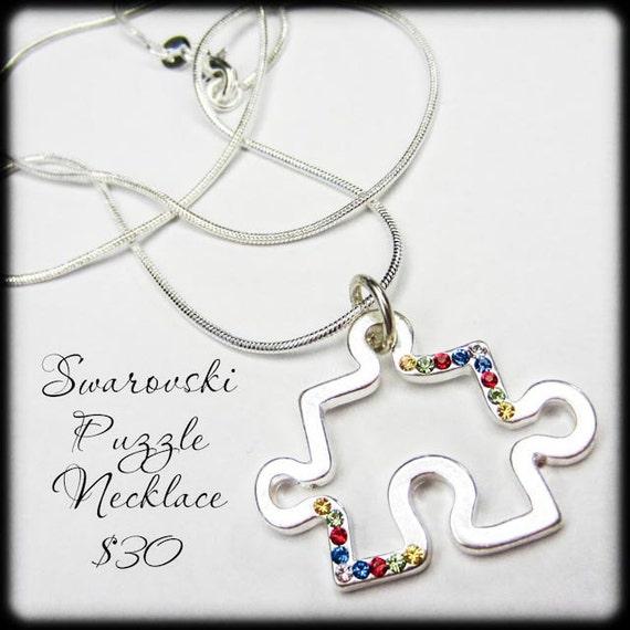 Autism Awareness Swarovski Puzzle Piece Necklace