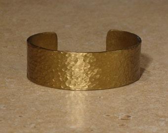 """7/8"""" wide hammered brass bracelet"""