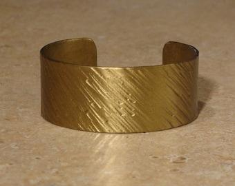 """1"""" wide hammered brass bracelet"""
