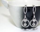 BRIDAL - Sparkle Crystal Rhinestone Earrings, Vintage Bridal Earrings - Style 12