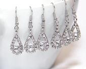 SET of 3 (three) - BRIDAL - Sparkle Rhinestone Earrings, Vintage Bridal Earrings, Fireballs Earrings - Teardrop 2