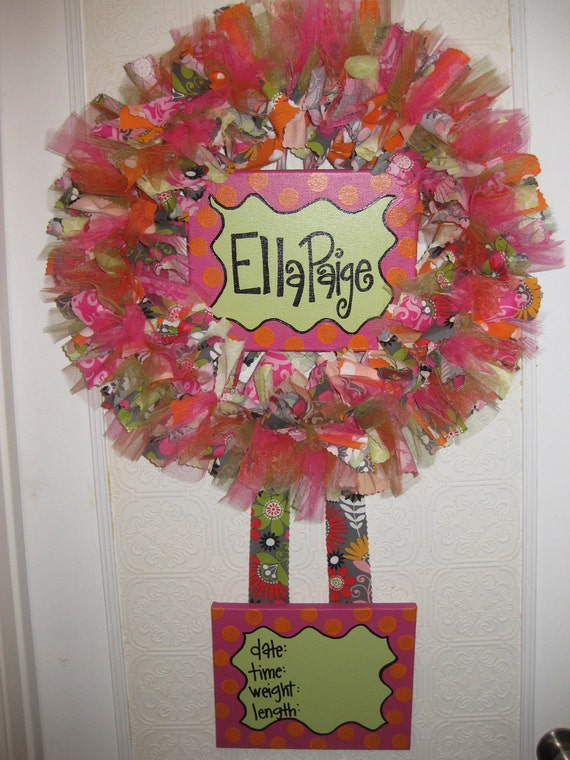 Custom Boutique Baby Wreaths, Birth Announcements, and Hospital Door Hangers