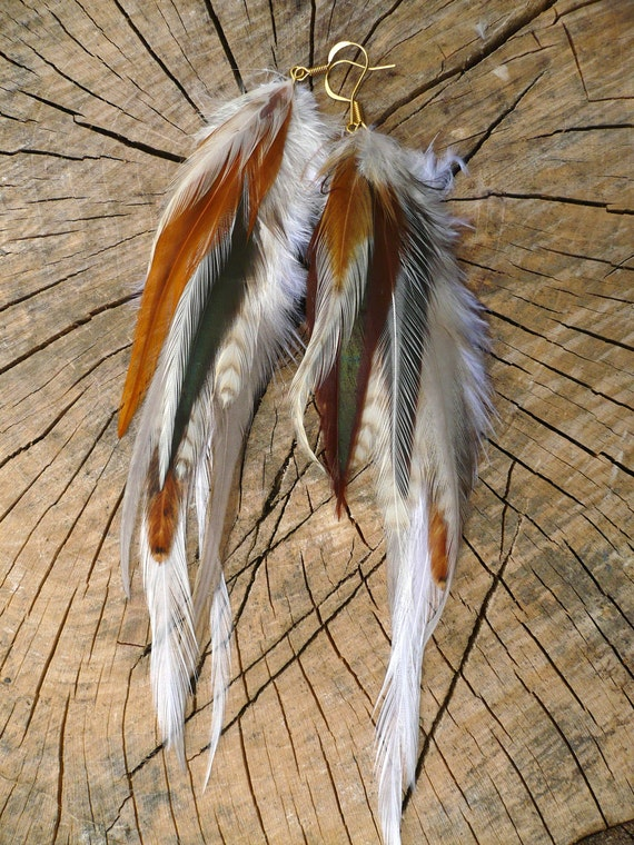 Feather Earrings in Natural Whites