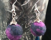 Purple and Turquoise Wool Ball Earrings