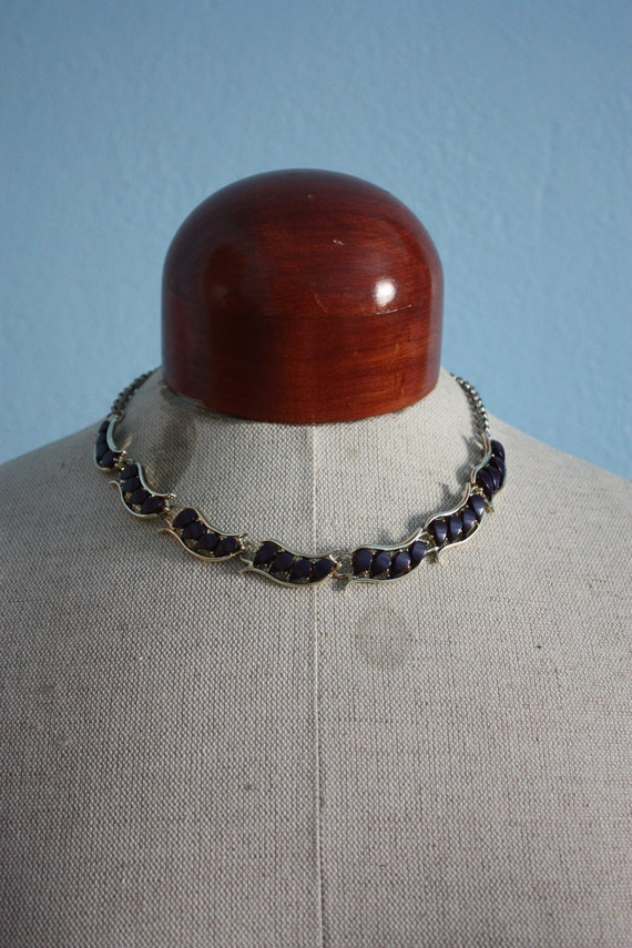 vintage 60s beaded link necklace - Pieces of Midnight indigo glow purple blue gold chain choker