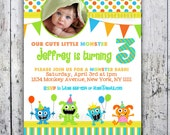 Monster Birthday Party Invitations - Monster Bash - Printable Invite - Girl or Boy - Fast turnaround