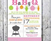 Baby Shower Invitation, Baby Q, Baby BBQ -- Digital Printable Custom Invites