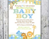 Safari Baby Shower Invitations, Jungle Animal Theme, Printable Invite for Boy or Girl Birthday too
