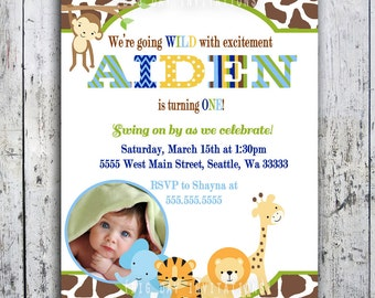 Safari Birthday Invitations, Jungle Animal Theme, Printable Invite for Boy or Girl Birthday too