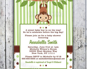 Mod Monkey Baby Shower Invitation Printable-  Boy or Girl - Birthday Invite
