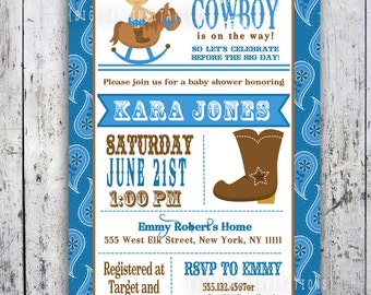 Lil' Cowboy Baby Shower Invitation - Custom Printable - Boy Baby Shower invite