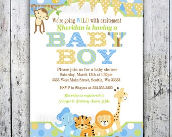 Safari Baby Shower Invitations, Jungle Animal Theme, Printable Invite for Boy or Girl Birthday too