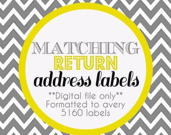 Matching Return address labels- Digital file - Matches any invite in our store