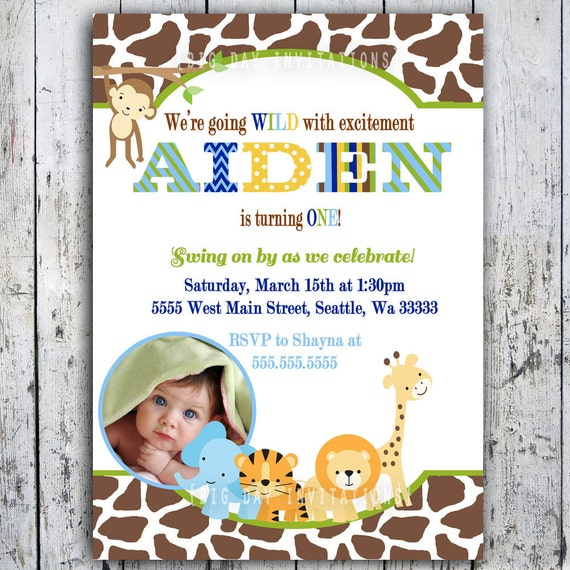 Safari Birthday Invitations Jungle Animal Theme Printable – Safari First Birthday Invitations