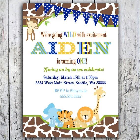 Safari Birthday Invitations Jungle Animal Theme Printable