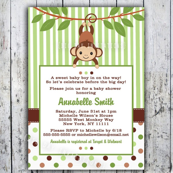 Agile image in free printable monkey baby shower invitations