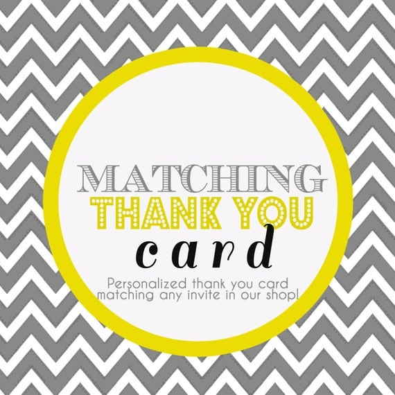 Matching Thank You Card - Digital file - Matches any invite in our store