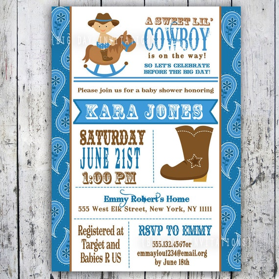 39 cowboy baby shower invitation custom printable boy baby shower