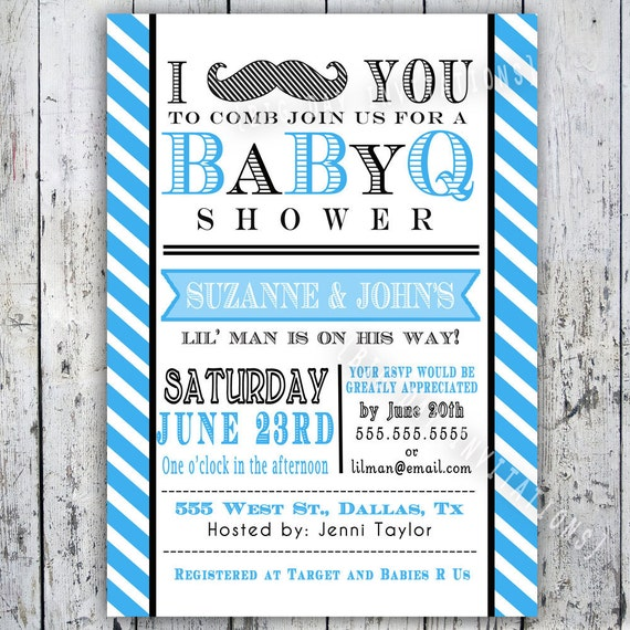 Baby Shower Invitation, Baby Q, Baby BBQ -Lil Man Mustache Invite - Digital Printable Custom Invites