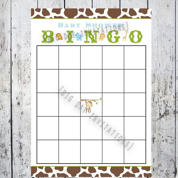 safari baby shower game bingo card printable file matching