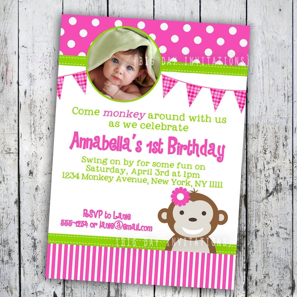 Monkey love party invitations - photo#22