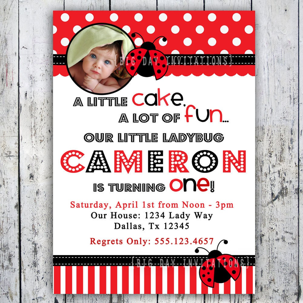 Ladybug Birthday Invitation 1st Birthday By BigDayInvitations