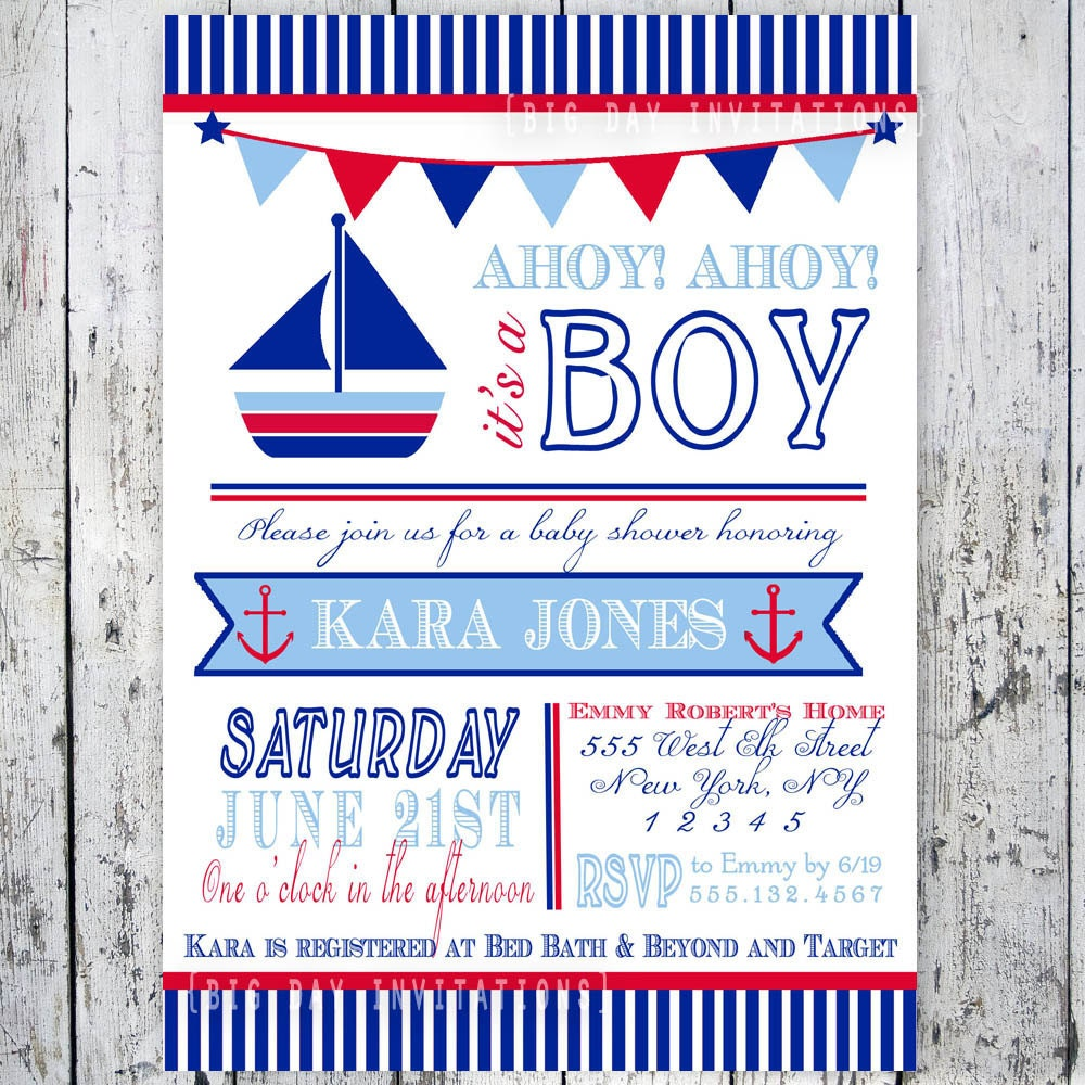 Sailor Baby Shower Invitations as awesome invitation template