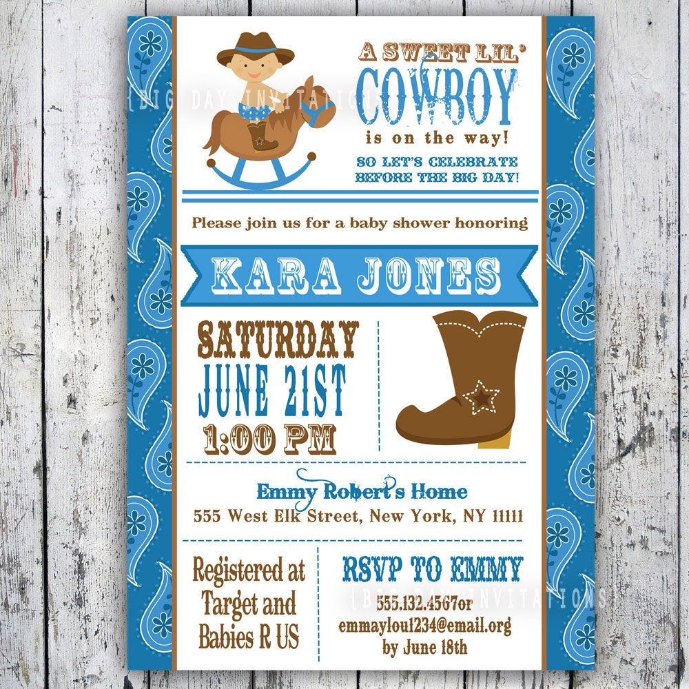 cowboy baby shower invitations templates lil 39 cowboy baby shower