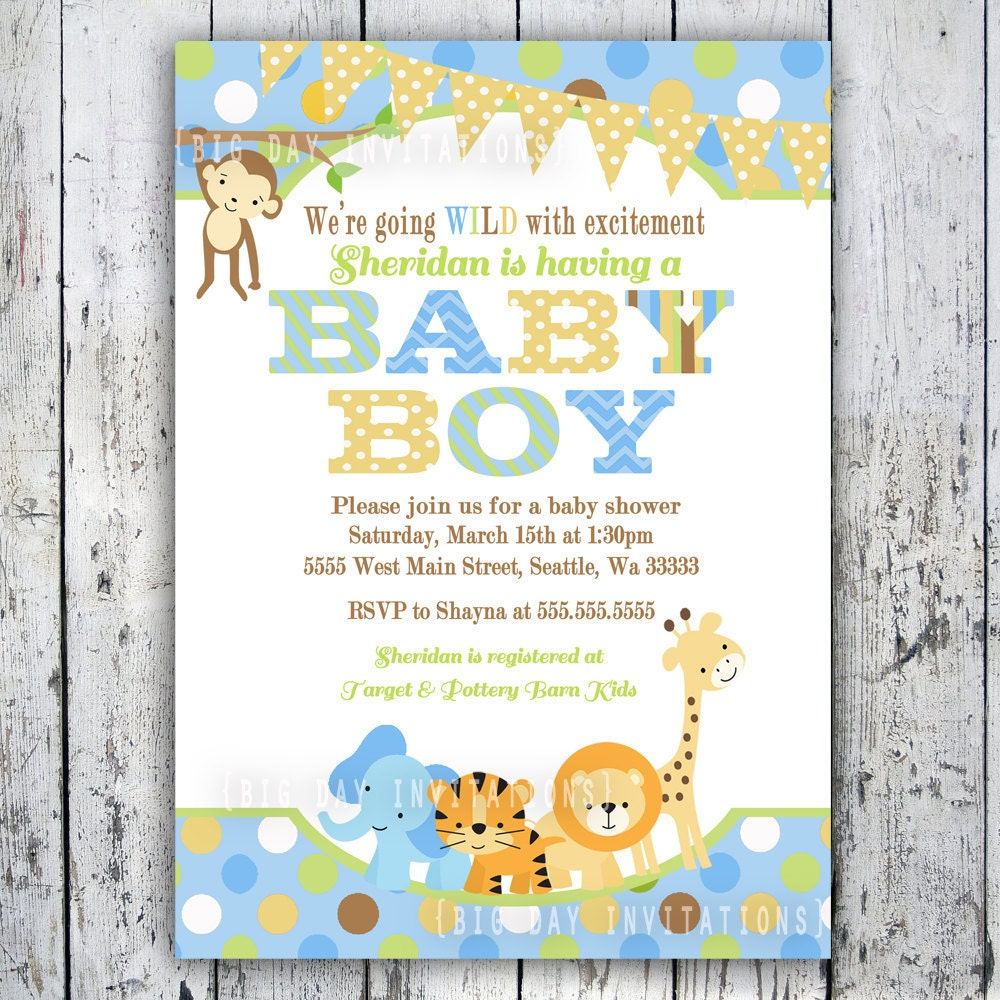 Safari Baby Shower Invitations Jungle Animal By