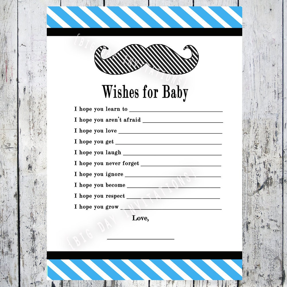Lil' Man Shower Game Wishes For Baby by BigDayInvitations: www.etsy.com/listing/100056975/lil-man-shower-game-wishes-for-baby