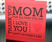 Thank you Mom - Mother's day card - Red