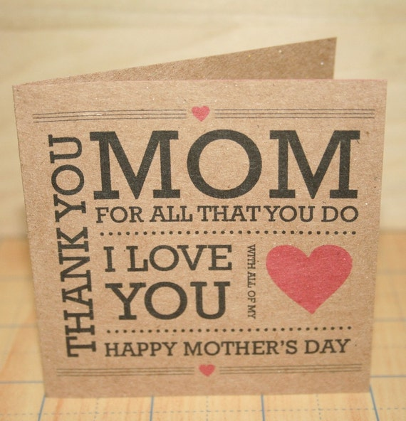 Thank you Mom Mothers Day Card - Brown