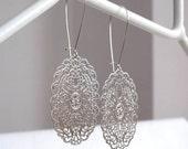 Oval Lace - Laser Cut Earrings in Silver