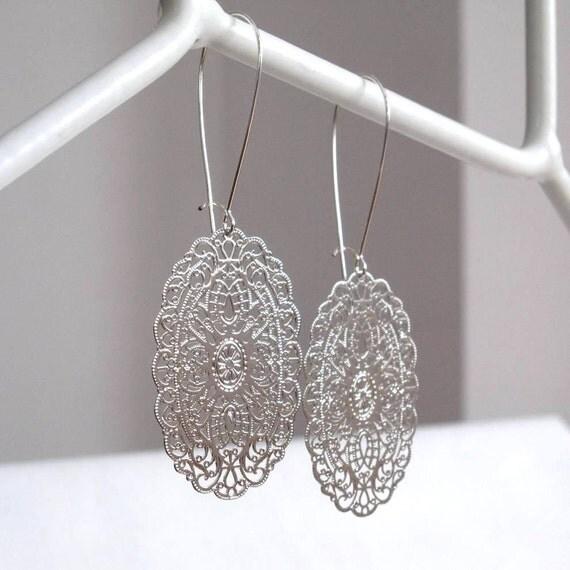 Oval Lace Earrings - Silver Filigree Earrings