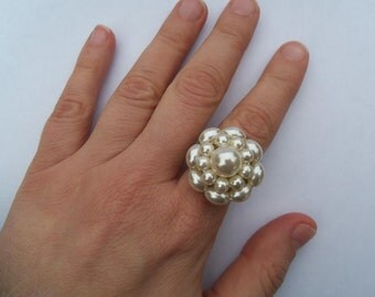 Vintage Earring Ring Adjustable Earring Ring Faux Pearl Earring Ring Bridal Wedding Repurposed Recycled Upcycled Ring Statement Ring