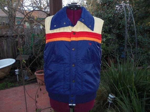 Ocean Pacific Mens Puffy Ski Vest 1970s 1980s Size L