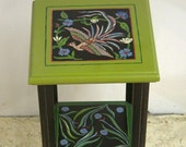 Hand painted Green bird table