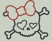 Funky Girly Skull Embroidery Applique Design