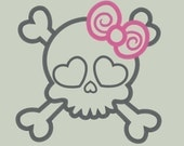 Sweet Girly Skull Embroidery Applique Design in FOUR SIZES